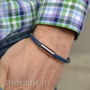 handmade męska bransoletka skórzana uno plait steel niebieska