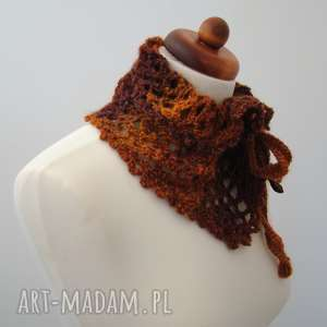Otulacz - szaliczek ażurowy w rudościach, wiązany szaliki barska