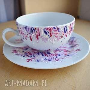 filiżanka ręcznie malowana lila róż 250 ml, filiżanka