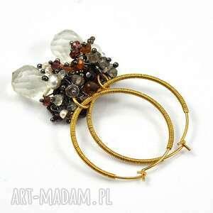 złote koła z kamieniami, złoto, koła, minerały, perły, bogate