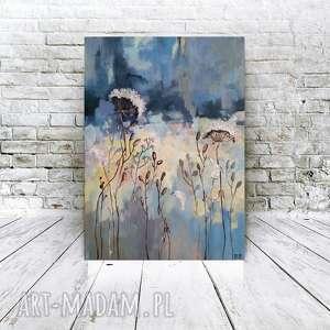 NIEBIESKA ŁĄKA- obraz akrylowy formatu 40/30 cm, obraz, łąka, akryl