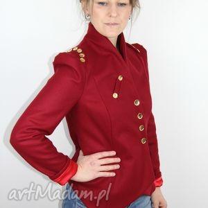 marynarki czerwona marynarka z puffowymi rekawami, marynarka, kobieta, dopasowana