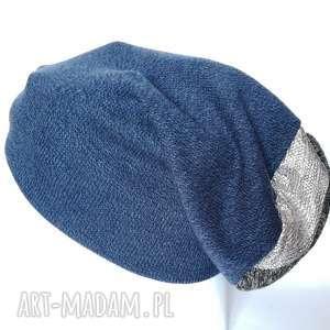 czapka granatowa wełniana góra srebrno-szara, czapka, wełna, ciepła, etno, kolorowa