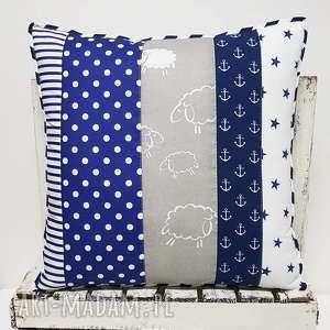Poduszka 54x54cm patchwork navy blue 02 od majunto poduszki