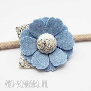 opaska do włosów z kwiatkiem błękitny kolekcja roma, opaska, dziewczynki