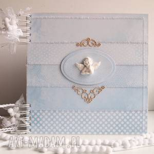 handmade scrapbooking albumy niebieski album na chrzest/25x25cm