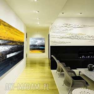 Duży obraz do salonu żółć z czernią , żółta-dekoracja, duży-obraz,