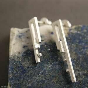kolczyki srebrne asymetryczne, sztyfty, artystyczne