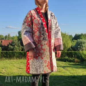 patchworkart płaszcz patchworkowy - waciak długi w stylu boho, kimonowy
