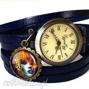 ekspresjonistyczna dusza - zegarek bransoletka na skórzanym - biżuteria