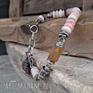 ręcznie zrobione opal, bursztyn - bransoletka