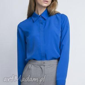 bluzki elegancka koszula, k101 indygo, bluzka, krepa, mgiełka, kołnierzyk