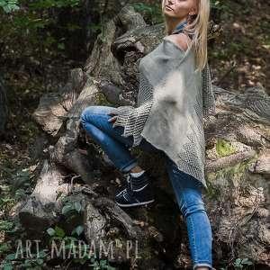 oliwkowe ponczo swetromania - wełna, ażur sweter, poncho