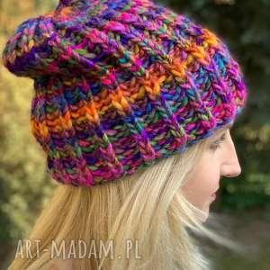 kolorowa czapka, na drutach, jesienna zimowaczapka