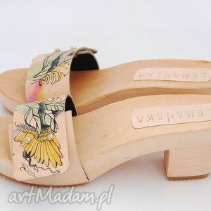 lemanska drewniaki malowana skóra, buty, ręcznie, robione, malowane
