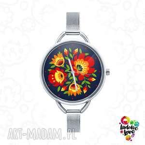 zegarek z grafiką kwiaty, folk, kwiat, etniczne, ludowe, polskie, łowicz
