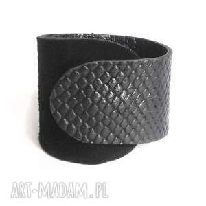 ręcznie wykonane bransoleta skórzana czarna wrapped wąż