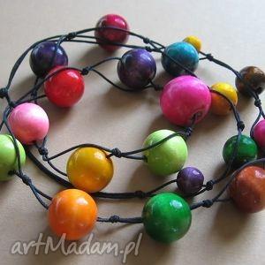 Multicolor - długie korale, naszyjnik, długie, drewno, kula