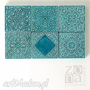 dekory sześć ornamentów turkusowych, dekory, kafle, kafelki, płytki, ścienne