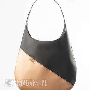 Duża torba gorzka czekolada i różowe złoto na ramię musslico