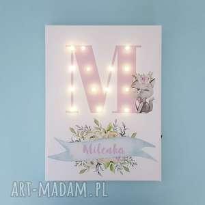handmade pokoik dziecka świecąca litera led obraz z imieniem kotek kwiaty urodziny