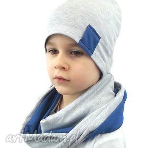 komplet dla chłopca bukiet pasji - kominy szalik, czapki, czapka