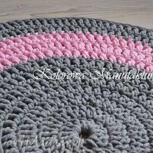 dywan okrągły grey pink 80cm, dywan, sznurek, bawełniany, salon, kuchnia, dzieci