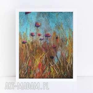 łąka-praca wykonana suchymi pastelami, pastele, kwiaty, łąka, rysunek