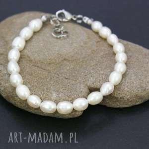 bransoletka perły naturalne, bransoletka, perły, stal, szlachetna