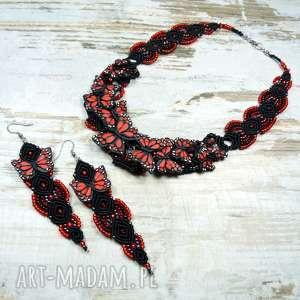 Komplet biżuterii - motyle czerwono czarny, biżuteria-motyle, biżuteria-wieczorowa