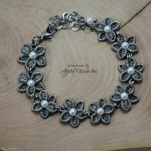 kwiaty bransoletka z perłami ze stali chirurgicznej, wire wrapping