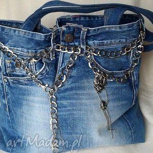 na ramię torba z niebieskiego jeansu, torba, jeans, łańcuch, eko-torba, recykling