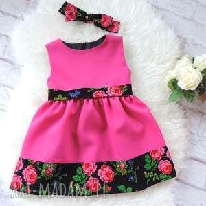 ręczne wykonanie ubranka różowa sukienka folkowa dziecięca opaska pinup