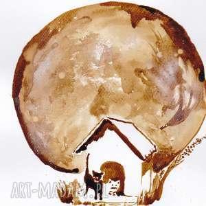 Czekając na miskę - obraz kawą malowany, koty, kawa, pełnia, księżyc, oczekiwanie