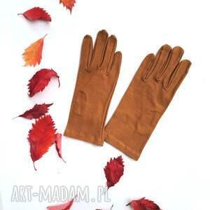 handmade rękawiczki ciepły braz dzianinowe krótkie one size
