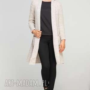 swetry długi, ciepły sweter, swe112 beż, casual, ciepły, płaszczyk, kieszenie, długi