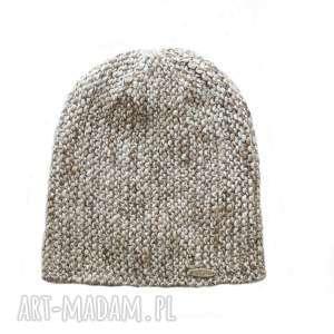 Czapka #22, czapka, melanżowa, dziergana, wełna, alpaka, unisex