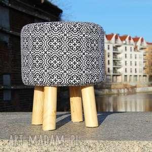 Pufa Czarna Mozaika - 36 cm, puf, pufa, taboret, stołek, hocker, siedzisko