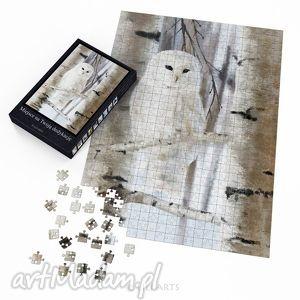 puzzle - biała sowa 60x42 cm 600 elementów, puzzle, układanka, sowa, polarna