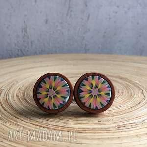 drewniane spinki do mankietów - spinki, drewniane, kwiaty, prezent, kobieta