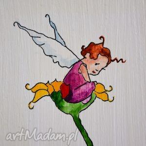 obrazek ręcznie malowany z elfem - obrazek, dziecko, elf, pokój, dekoracja