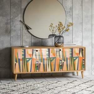 dom ethnic - modna komoda 3 drzwiowa loft w stylu mid century / prl vintage