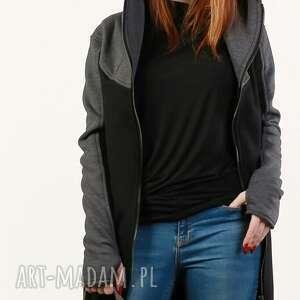 Czarna bluza, długa dzianina płaszcz kaptur, ciepła, elegancka