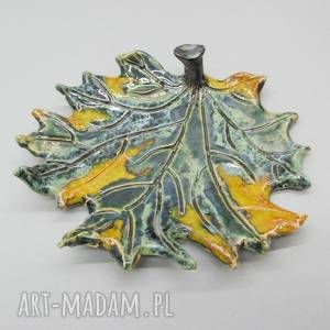 ręczne wykonanie ceramika talerzyk dekoracyjny - fantazyjny liść