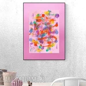 różowa dekoracja na ścianę, kolorowa grafika abstrakcyjna, różowy obraz