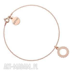 bransoletka z różowego złota z rozetką - okrągła
