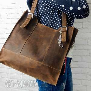 3d88cad9821fa handmade na ramię ręcznie robiona skórzana torebka brązowa