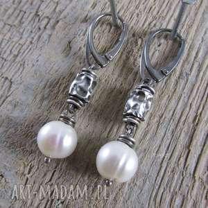 Perła ze zgniecionymi walcami, perła, srebro