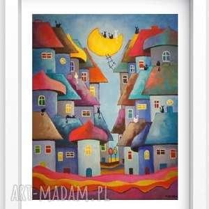 obraz na płótnie - bajkowe miasteczko kotów 40/50 cm, abstrakcja, obraz