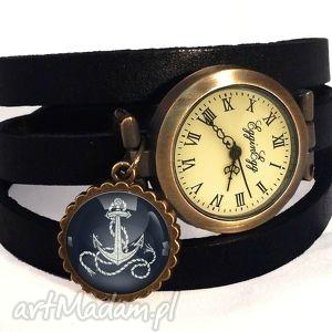 egginegg kotwica - zegarek bransoletka na skórzanym pasku prezent
